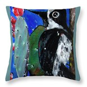 Woodpecker With Prickly Pear Cactus  Throw Pillow