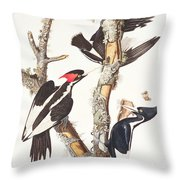 Woodpeckers Throw Pillow by John James Audubon