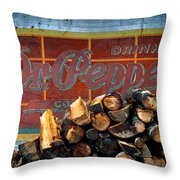 Woodpile With Taste - Dr Pepper Rustic Antique Red Country Southwest Throw Pillow