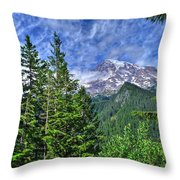 Woods Surrounding Mt. Rainier Throw Pillow