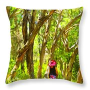 Woods Walk Throw Pillow