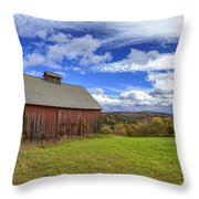 Woodstock Vermont Old Red Barn In Autunm Throw Pillow