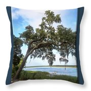 Woodstorks At Oak Grove Island Throw Pillow