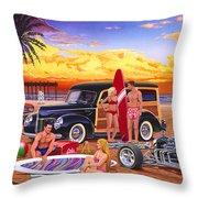 Woody Beach Throw Pillow