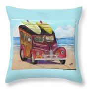 Woody On Beach Throw Pillow