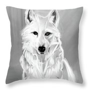 Wolf White Throw Pillow by Go Van Kampen