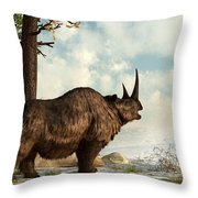 Woolly Rhino Throw Pillow