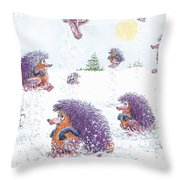 Woolly Snow Hoppers Throw Pillow
