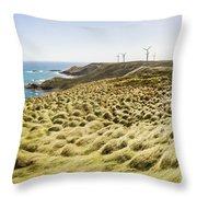 Woolnorth Wind Farm And Ocean Landscape Tasmania Throw Pillow
