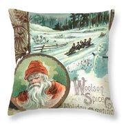 Woolson Spice Company Christmas Card Throw Pillow