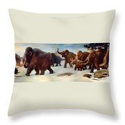 Wooly Mammoths Near The Somme River Throw Pillow
