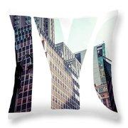 Word Nyc Manhattan Skyline At Sunset, New York City  Throw Pillow