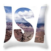 Word Usa Grand Canyon National Park, Arizona  Throw Pillow