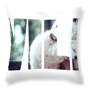 Word Wild Arctic White Wolf  Throw Pillow