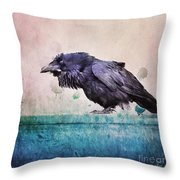 Words Of A Raven Throw Pillow