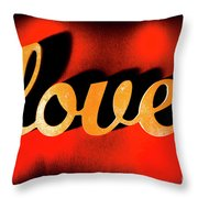 Words Of Love And Retro Romance Throw Pillow