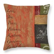 Words To Live By, Fruit Of The Spirit Throw Pillow
