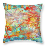 Work 00099 Abstraction In Cyan, Blue, Orange, Red Throw Pillow