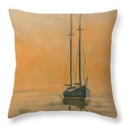 Work Boat At Rest Throw Pillow