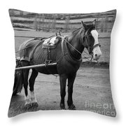 Work Horse And Cart Throw Pillow