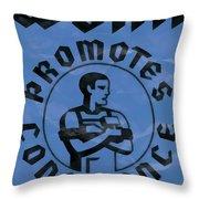 Work Promotes Confidence Blue Throw Pillow