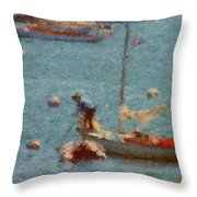 Work These Sails Honey Boothbay Harbor Maine Throw Pillow