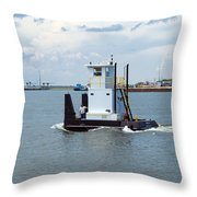 Workboat At Port Canaveral In Florida Throw Pillow