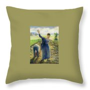 Workers In The Fields 1896-97 Camille Pissarro Throw Pillow