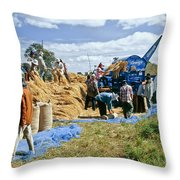 Workers Loading Rice Throw Pillow