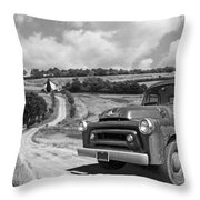 Down On The Farm- International Harvester In Black And White Throw Pillow