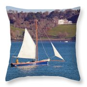 Working Boat At Trelissick Cornwall Throw Pillow