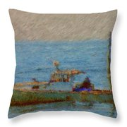 Working Hard Lobster Boat Smugglers Cove Boothbay Harbor Maine Throw Pillow