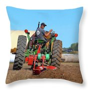Working His Plow Two  Throw Pillow