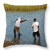 Working The Creeks Throw Pillow