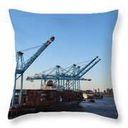 Working The Port Of New Orleans Throw Pillow