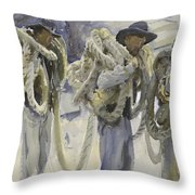 Workmen At Carrara Throw Pillow