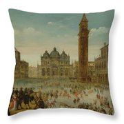 Workshop Of Caullery, Louis De Caulery Circa 1580 - 1621 Antwerp Carnival In Venice. Throw Pillow