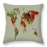World Map 02a Throw Pillow