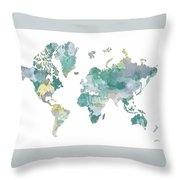 World Map 11 Watercolor Throw Pillow