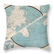 World Map - 1857 Throw Pillow