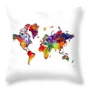 World Map 8 Watercolor Print  Throw Pillow