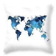 World Map Blue Throw Pillow
