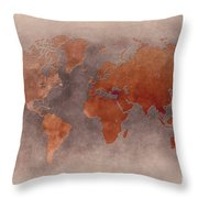 World Map Brown Throw Pillow
