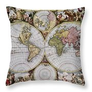 World Map, C1690 Throw Pillow
