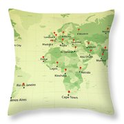 World Map Countries Cities Straight Pin Vintage Throw Pillow