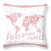 World Map Geometric Colorful Pink Throw Pillow