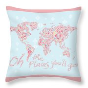 World Map Geometric Pink Mint  Throw Pillow