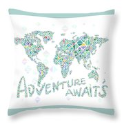World Map Geometric Spring Color Throw Pillow