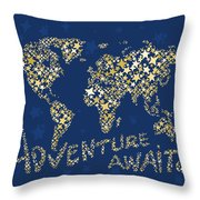 World Map Gold Yellow Star Navy Blue Throw Pillow