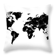 World Map In Black And White Throw Pillow